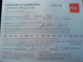 Andreas certificate of competency